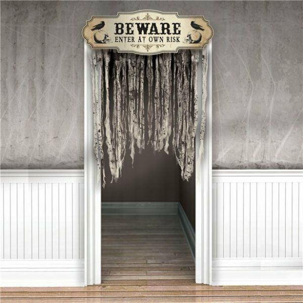 Halloween Boneyard Gauze Door Curtain - 1.4m